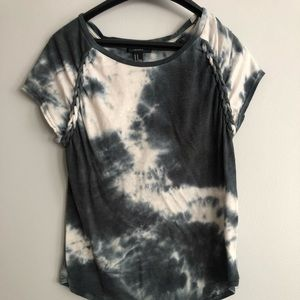 tie dye top with braiding detail